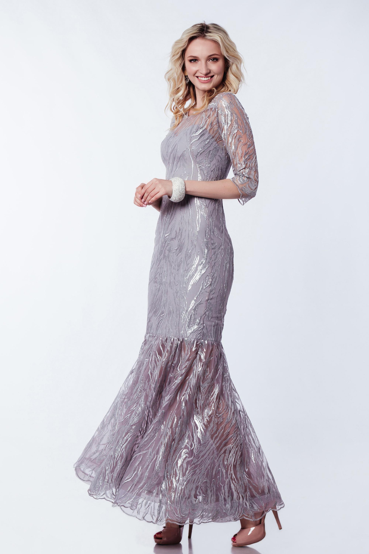 Вечернее платье с рукавами ''русалка'' Серое 3371