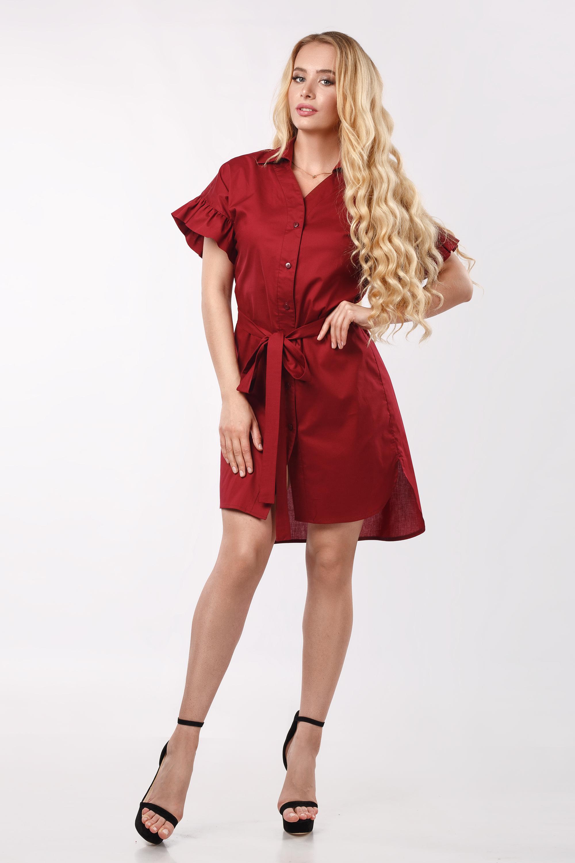 Платье-рубашка ассиметричное с воланами по рукаву Бордо 3381