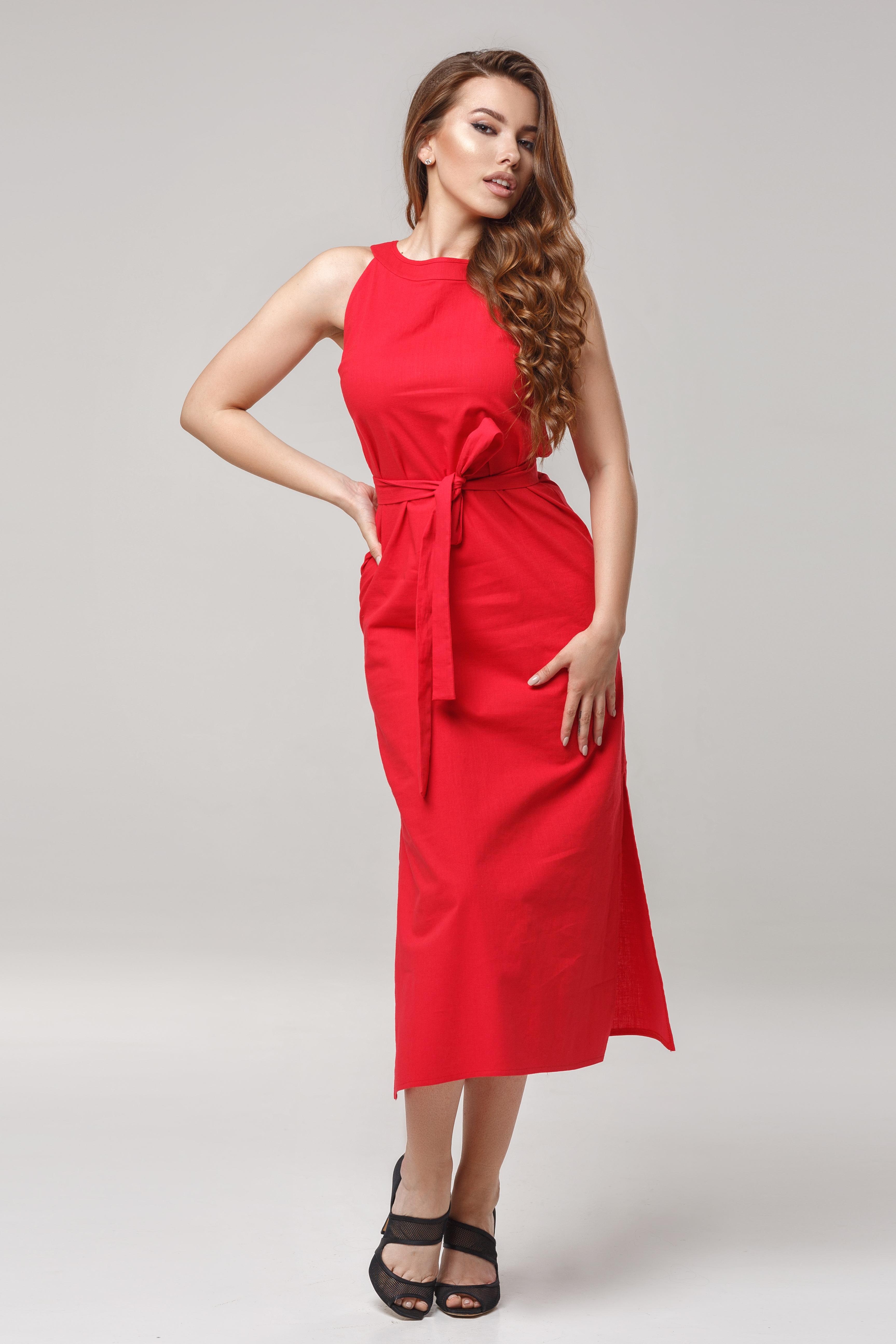 Сукня лляна міді Червона Lipar