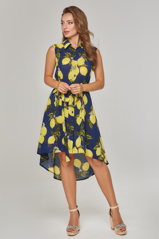 Платье со штапеля в лимоны Синяя Lipar