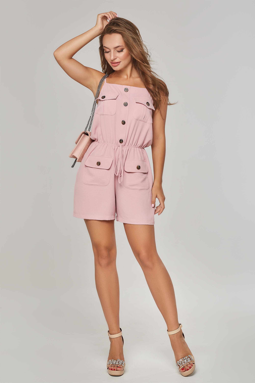 Комбінезон з шортами із жатки на тонких бретелях Рожевий Lipar