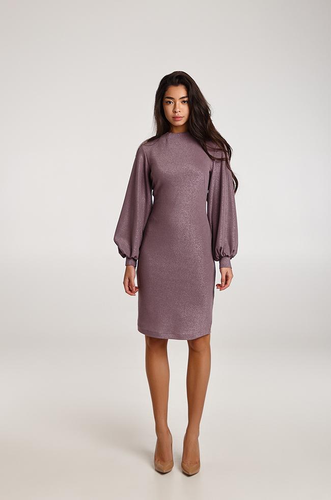 Нарядное платье-футляр с люрексом Темный Фрез 3340