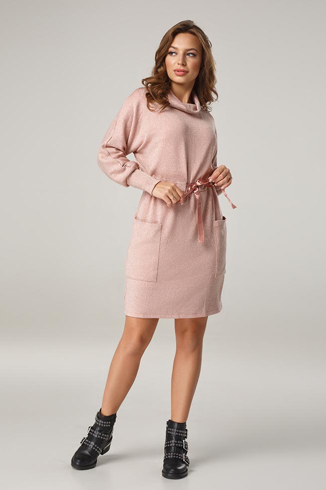 Сукня з люрексом та поясом-кулісою Пудра Lipar