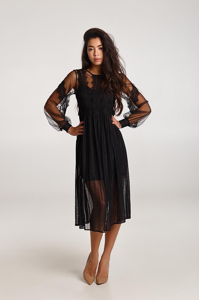 Платье вечернее с двохшаровой юбкой черное  Lipar