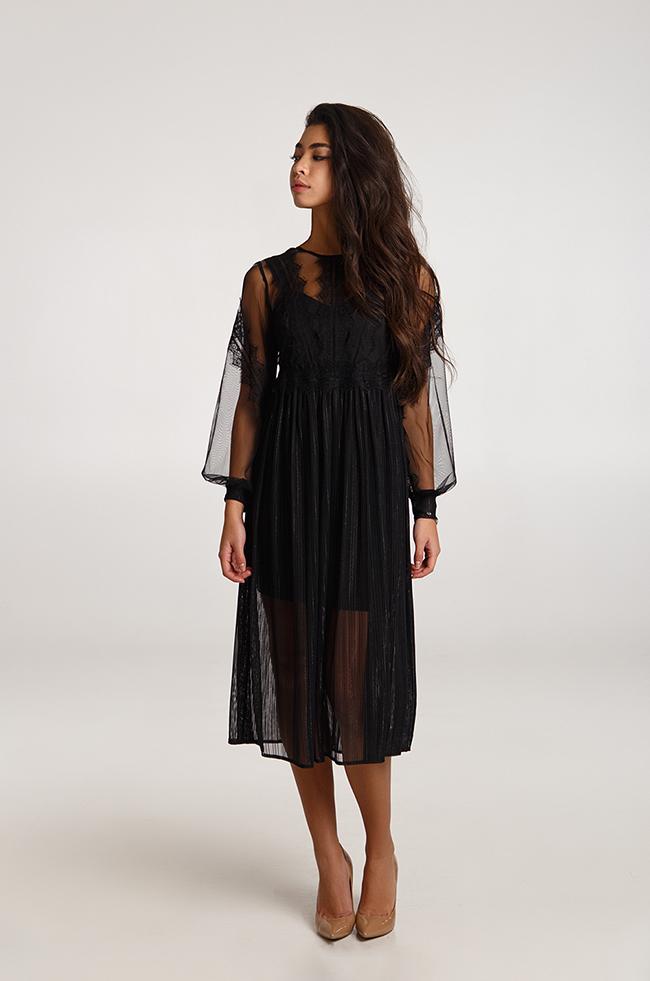 Платье вечернее с двохшаровой юбкой черное Батал  Lipar