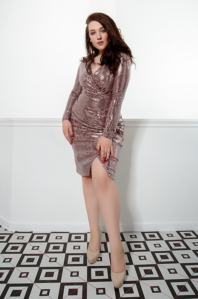 Платье блестящее на запах Фрез 3412 Lipar