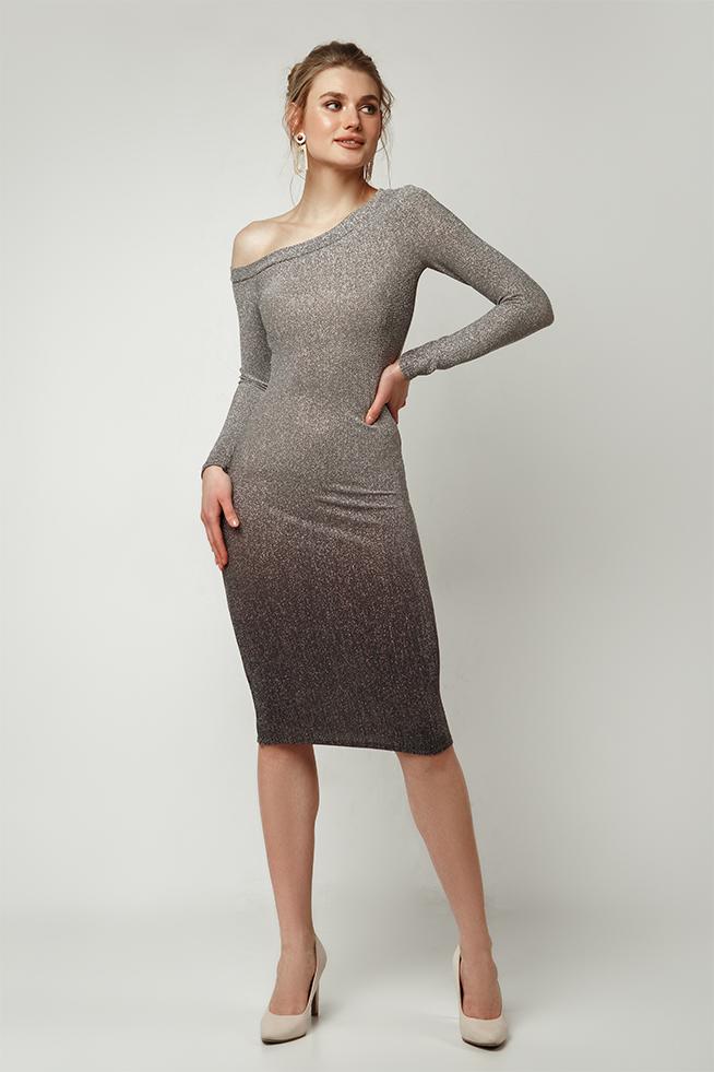 Платье градиент-фрез на одно плечо Серебро Lipar