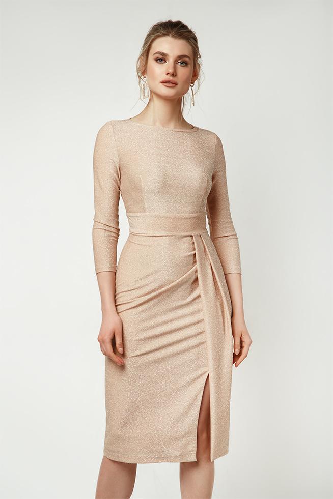 Сукня з асиметричними складками Персик Lipar