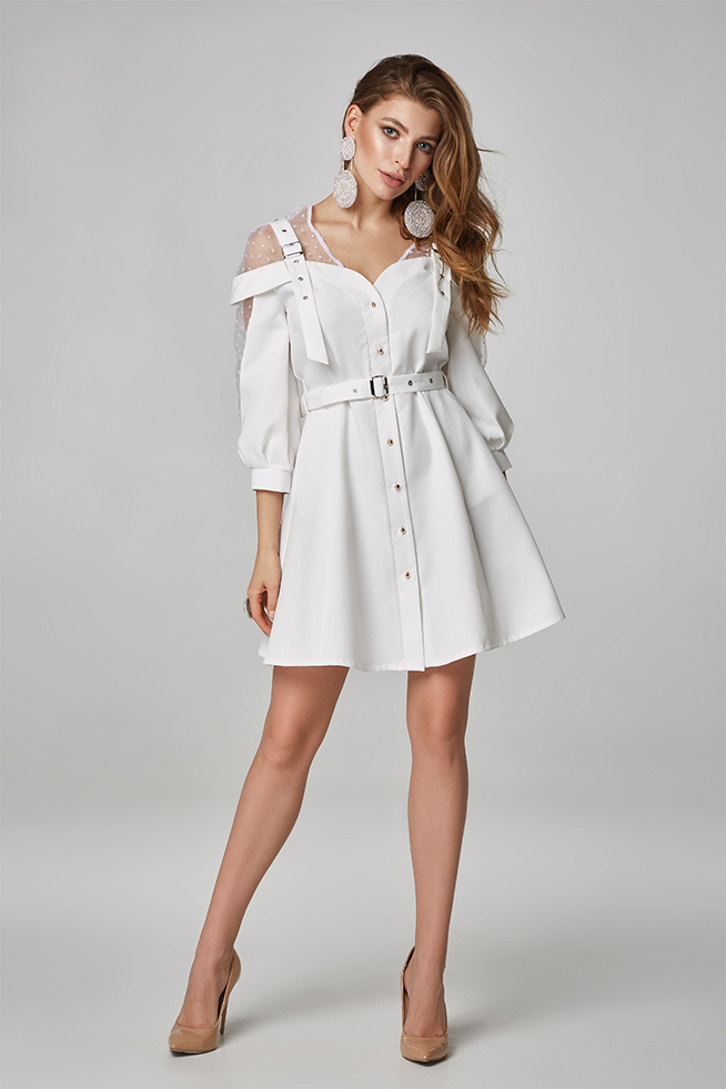 Сукня-сарафан на бретелях Біла Lipar