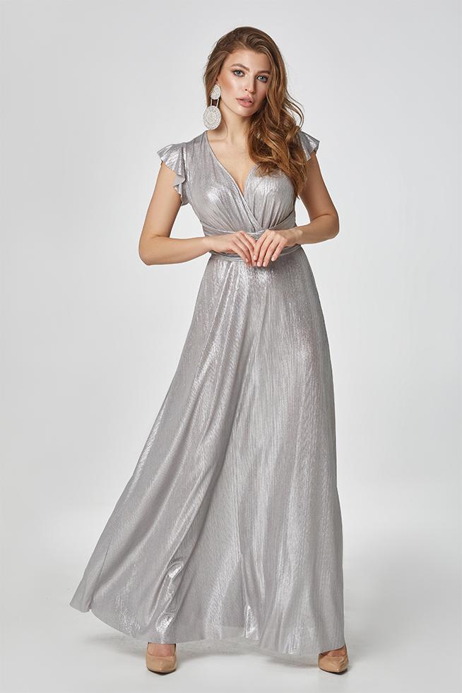 Вечернее платье Серебристое 3426
