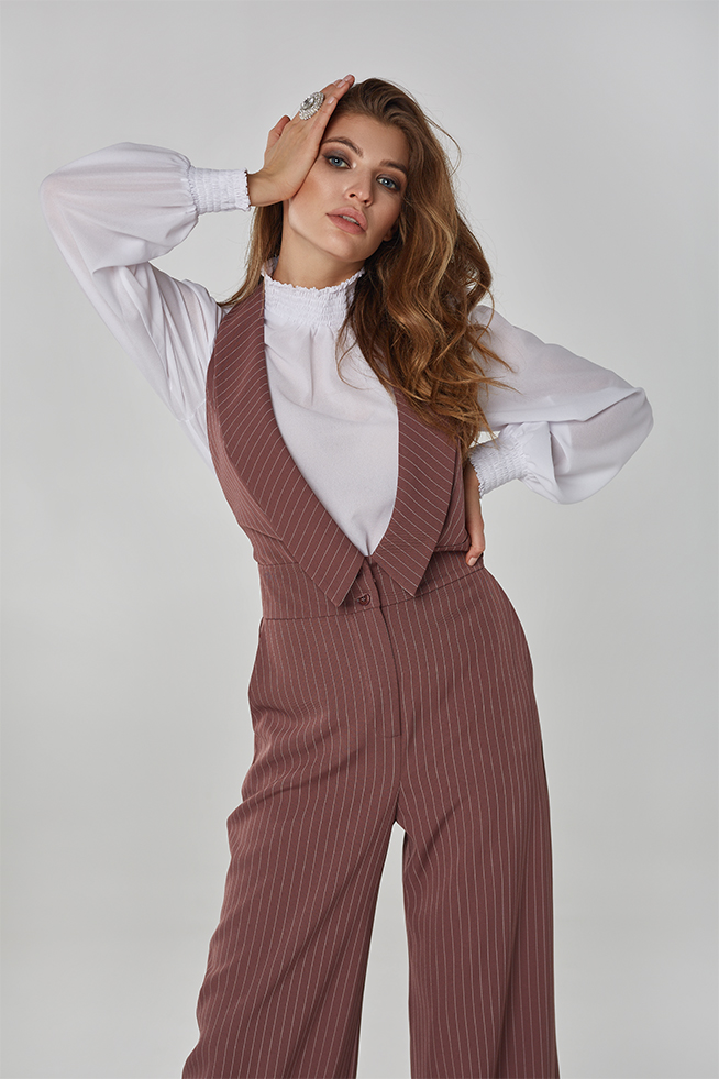 Блуза з креп-шифону Біла Lipar