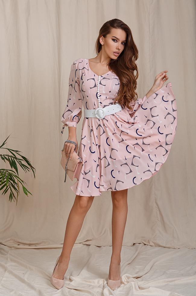 Сукня з розрізами на рукавах Рожеве Lipar