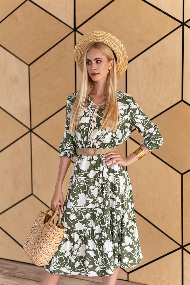 Платье меди цветы Хаки 3431 Lipar
