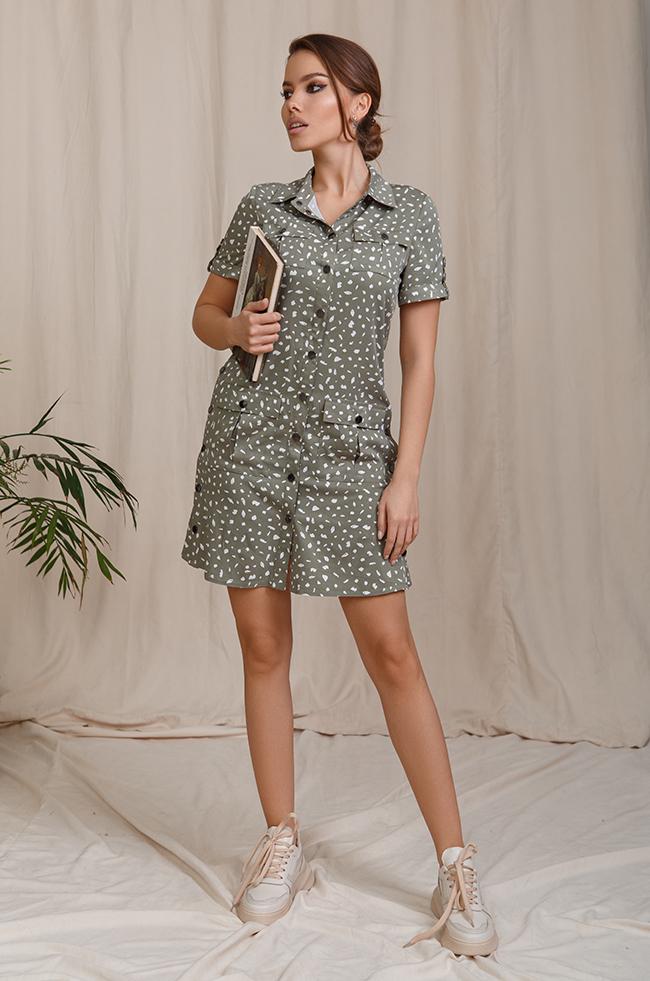 Сукня-рубашка з кнопками Хакі  Lipar