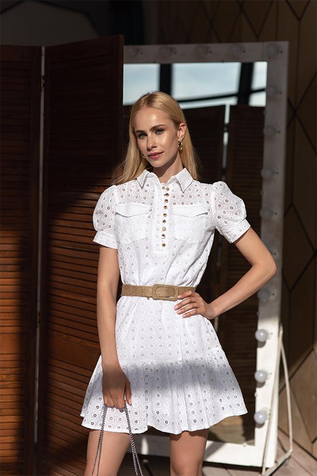 Платье-рубашка цветок Белая 3437 Lipar