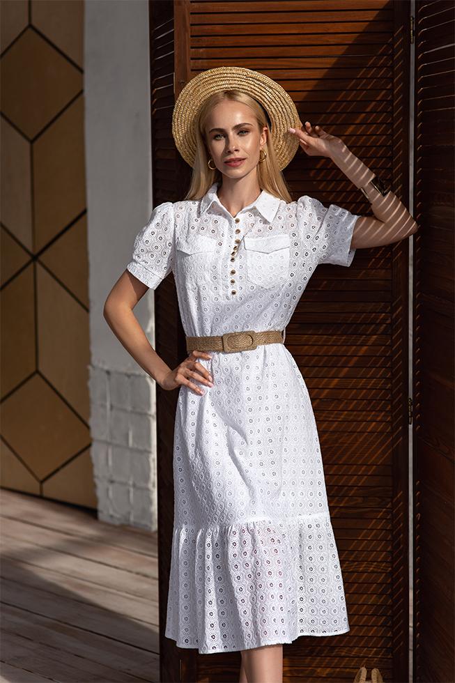 Сукня-рубашка з прошви квітка Біла Lipar