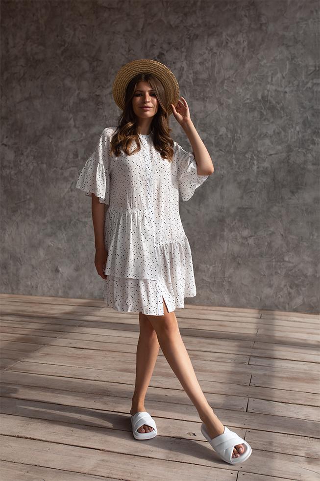 Платье свободного кроя с оборками Белая 3453 Lipar