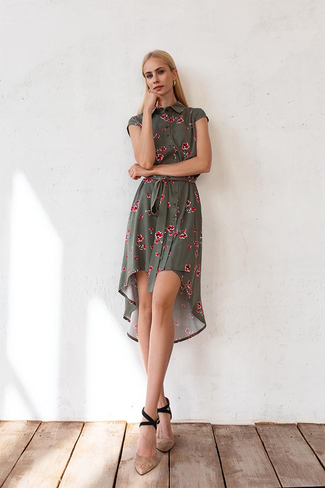 Сукня зі штапелю маки Хакі Lipar