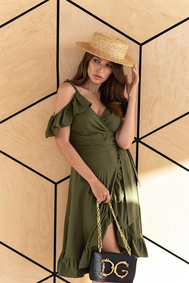 Сукня на запах з воланами Хакі Lipar