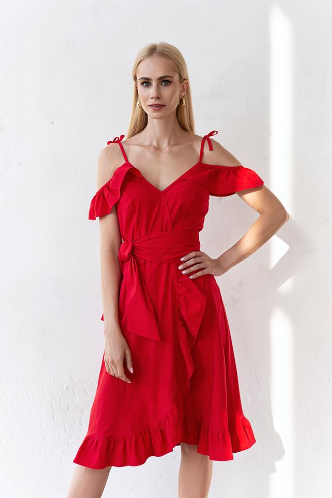 Сукня на запах з воланами Червоний Lipar