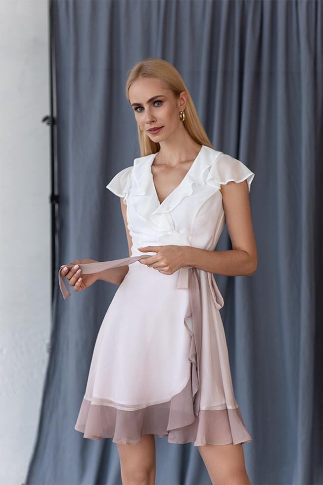 Сукня на запах градіент беж Білий Lipar