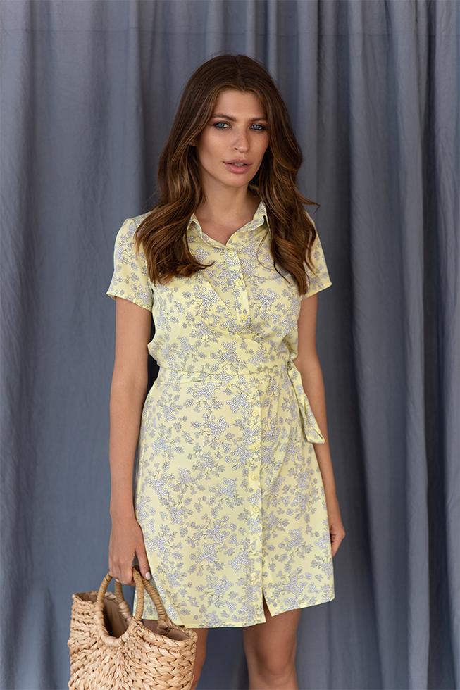 Сукня-рубашка з запахом Жовта Lipar