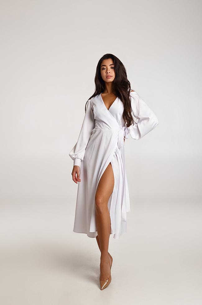 Платье вечернее миди Белое Lipar