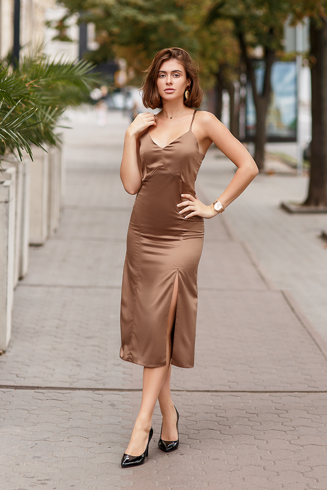 Платье комбинация с разрезом Капучино Lipar