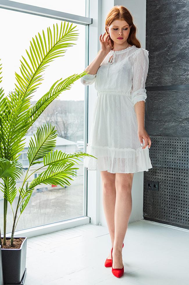 Сукня з шифону Біла Lipar
