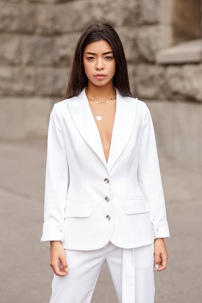 Піджак приталений класика Білий Lipar