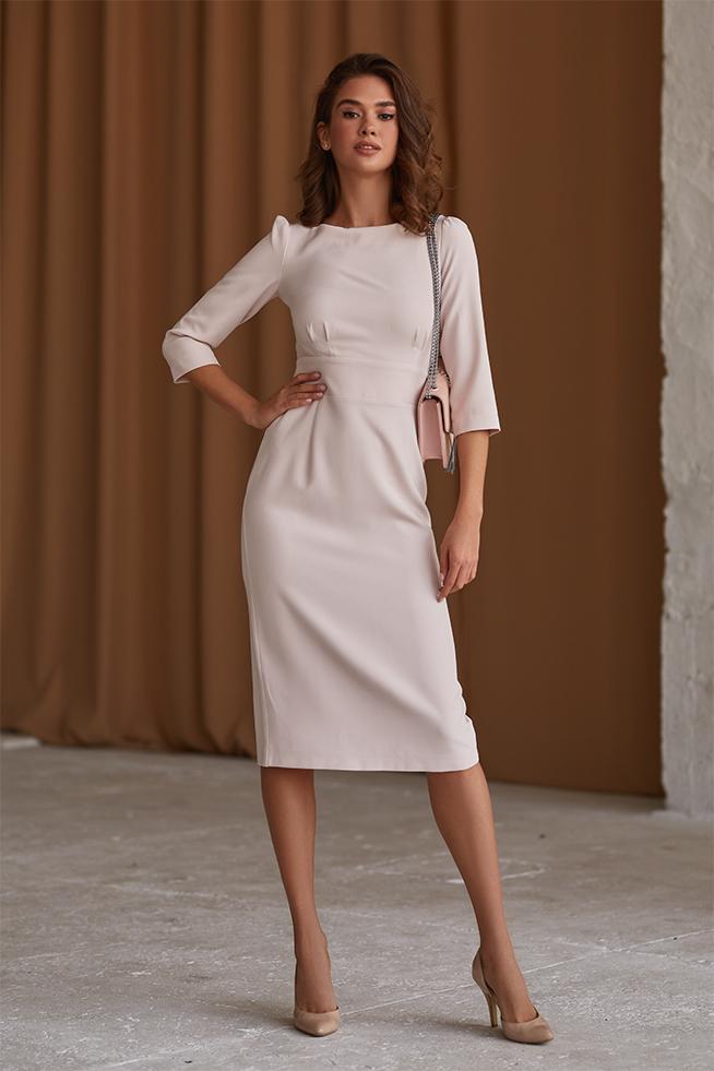 Платье приталенное классическое Беж Lipar