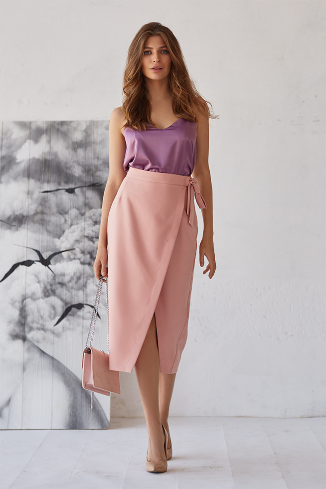 Спідниця з асиметричним розрізом Рожева Lipar