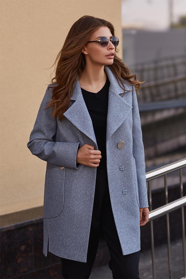 Пальто пряме з англійським коміром Блакитне Lipar