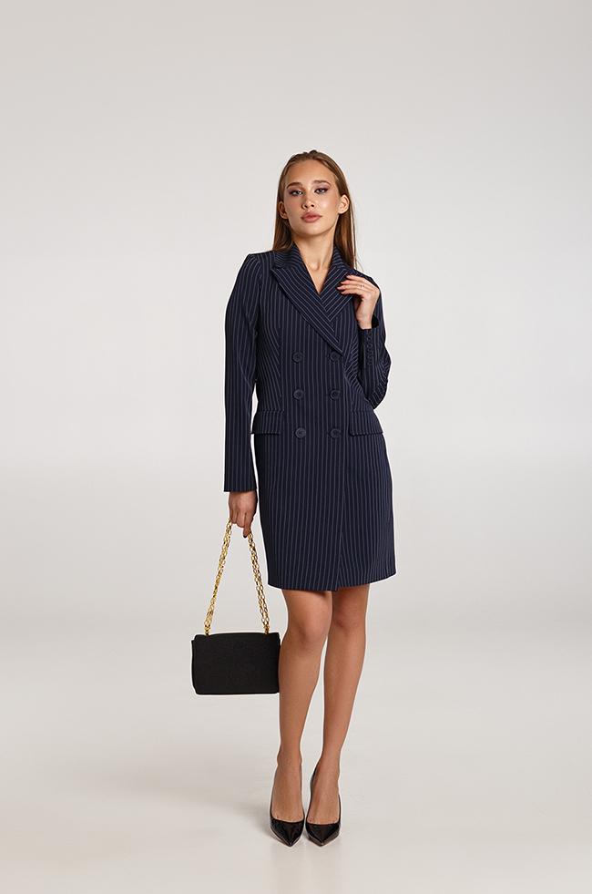 Платье -пиджак в полоску синее Lipar
