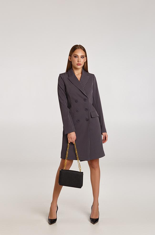 Платье -пиджак в полоску Серое Lipar