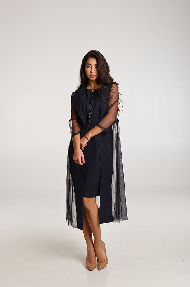 Костюм двойка платье+жакет с вставками сетки  Синее Lipar