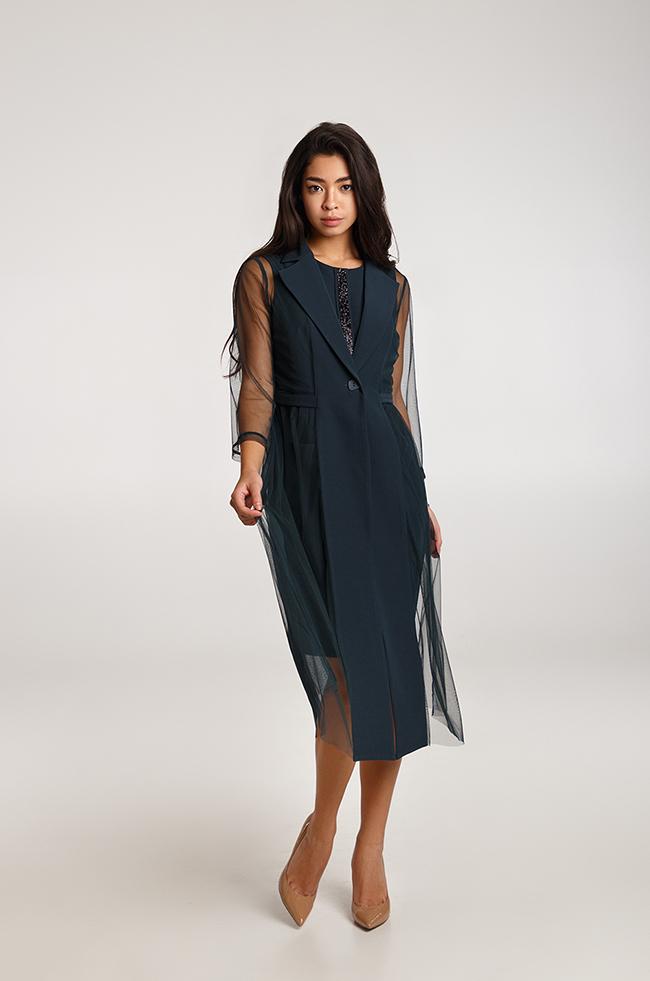 Костюм двойка платье +жакет с вставками сетки Изумруд  Lipar