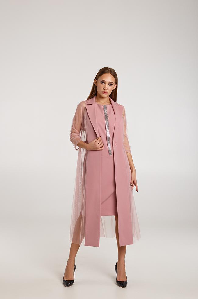 Костюм двойка платье +жакет  с вставками сетки Фрез Lipar