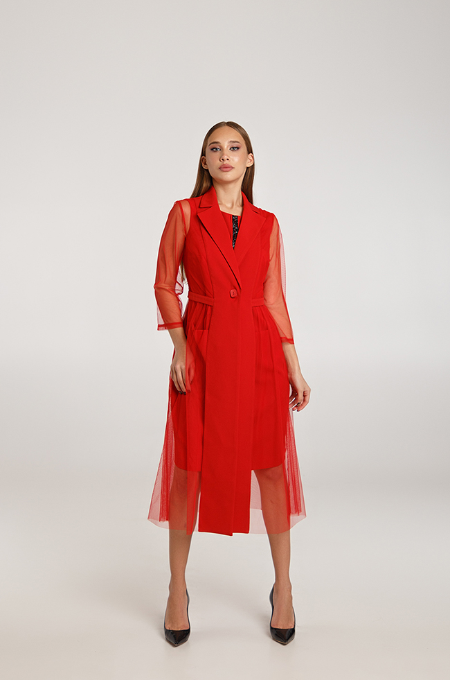 Костюм двойка платье+жакет с вставками сетки красный  Lipar