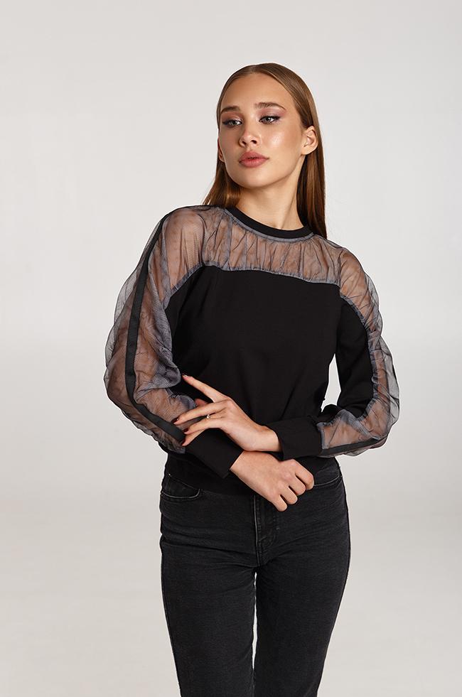 Блуза сборная сеткой Черная  Lipar