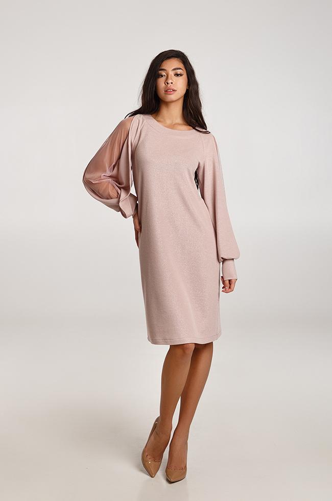 Платье с ажурными рукавами светлый Фрез Lipar