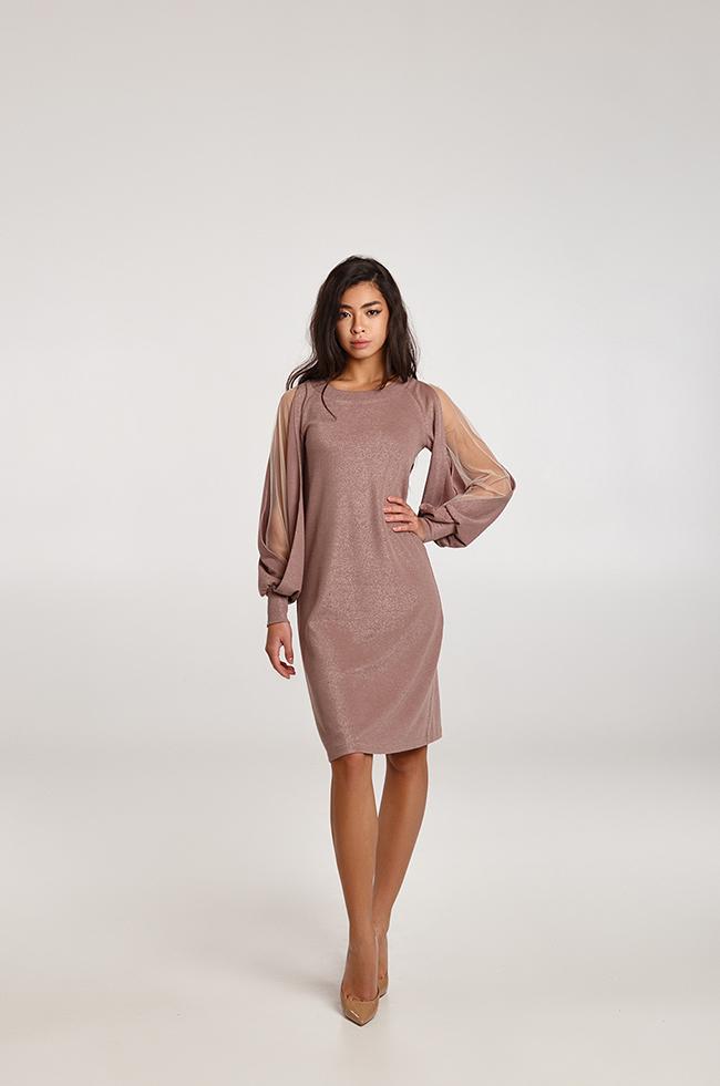 Платье с ажурными рукавами  Капучино Lipar