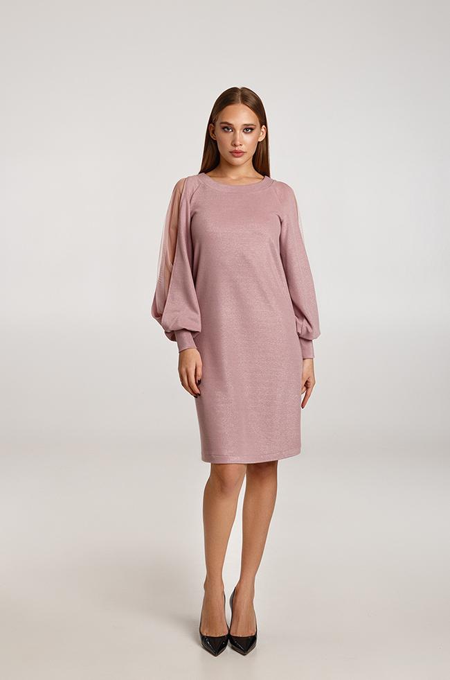 Платье с ажурными рукавами розовое Lipar