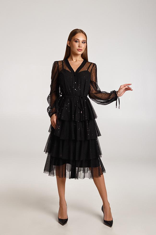 Платье двойка блестящее с воланами Черное Lipar