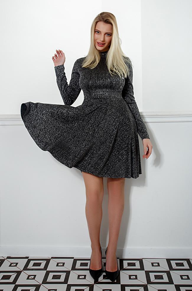 Платье двухбортное с  люрексом Серебро Lipar