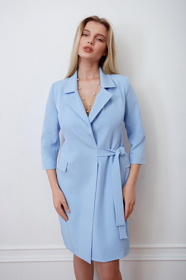 Платье -пиджак на запах Голубое 3493 Lipar