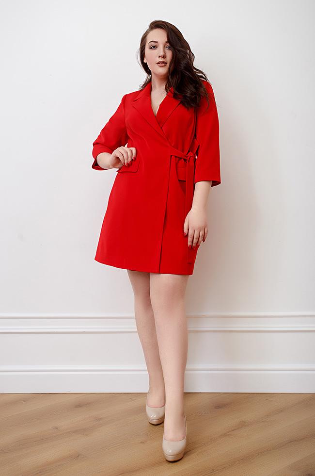 Платье-пиджак на запах  Красное 3493 Lipar