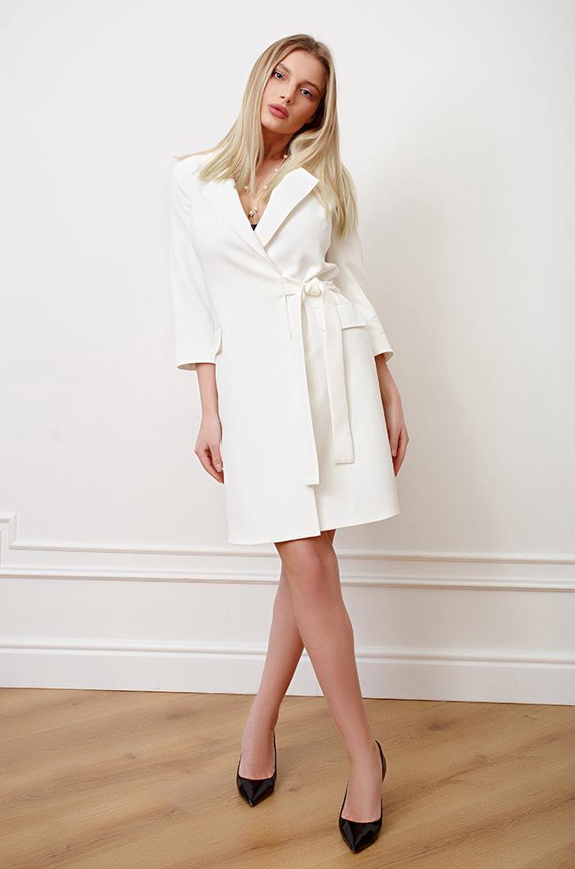 Платье-пиджак на запах Белое 3493 Lipar