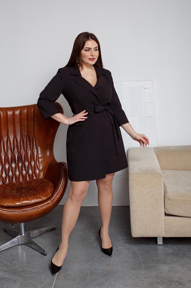 Платье-пиджак на запах Чорний 3493 Lipar