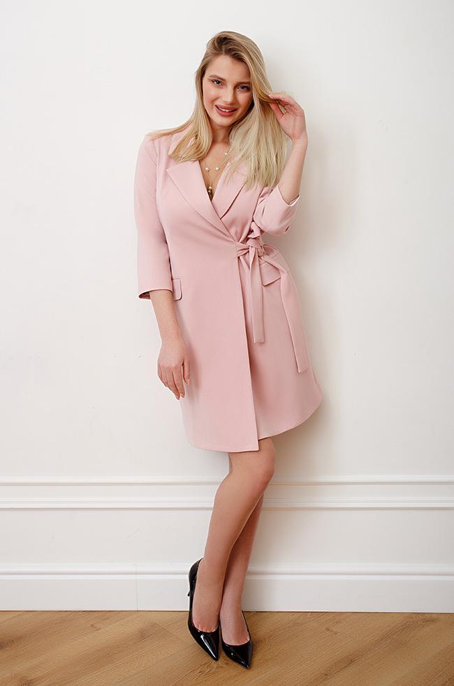 Платье -пиджак на запах Розовое  3493 Lipar